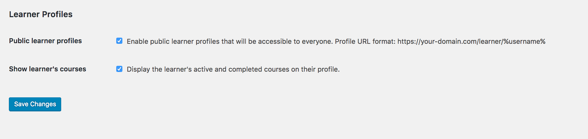 Sensei LMS Settings - Learner Profiles