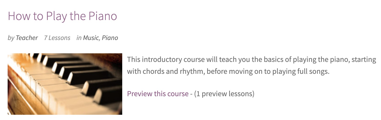 Preview lessons on course archive page