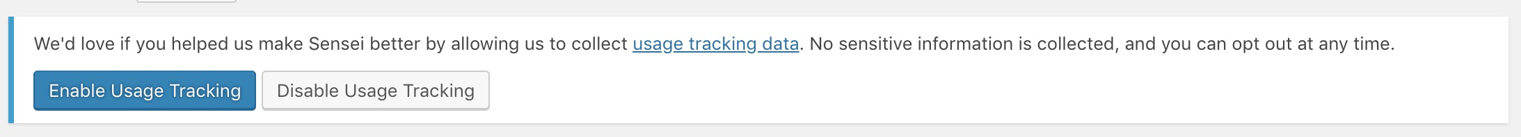 Enable usage tracking