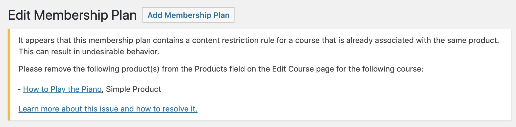 Notice on Edit Membership Plan page