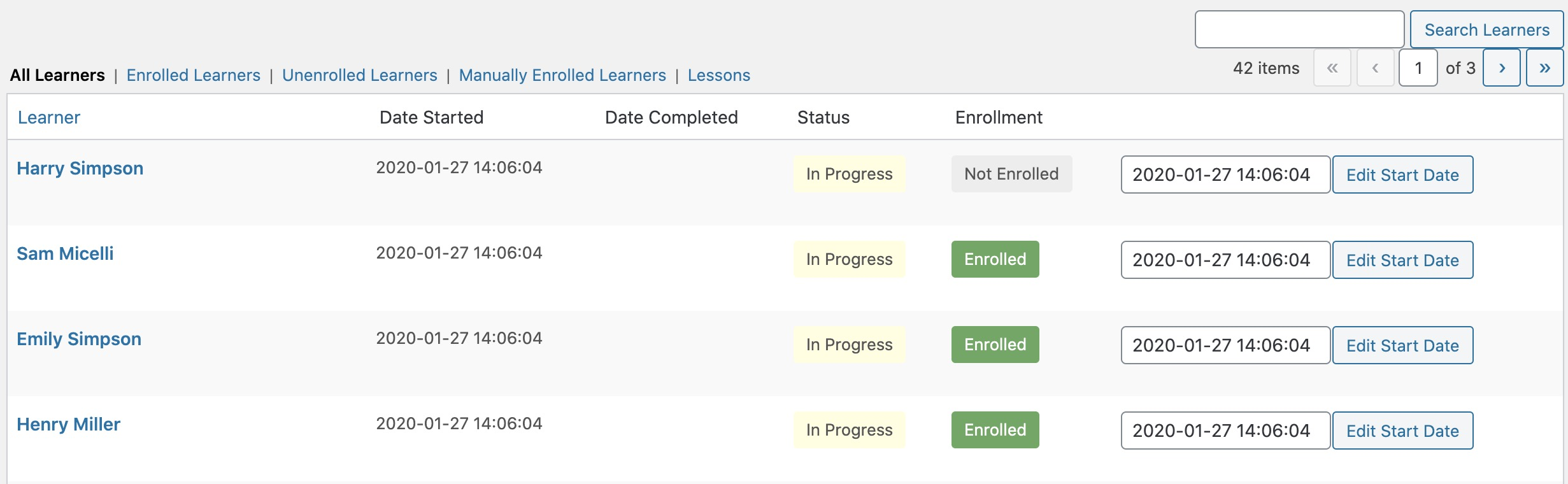 Learner Management - Enrollments