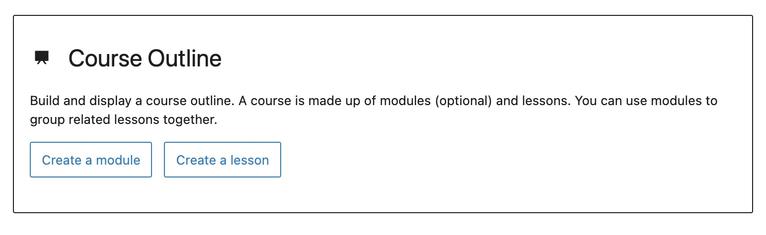Course Outline block - Setup state