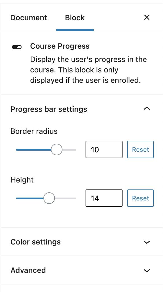 Course Progress block settings
