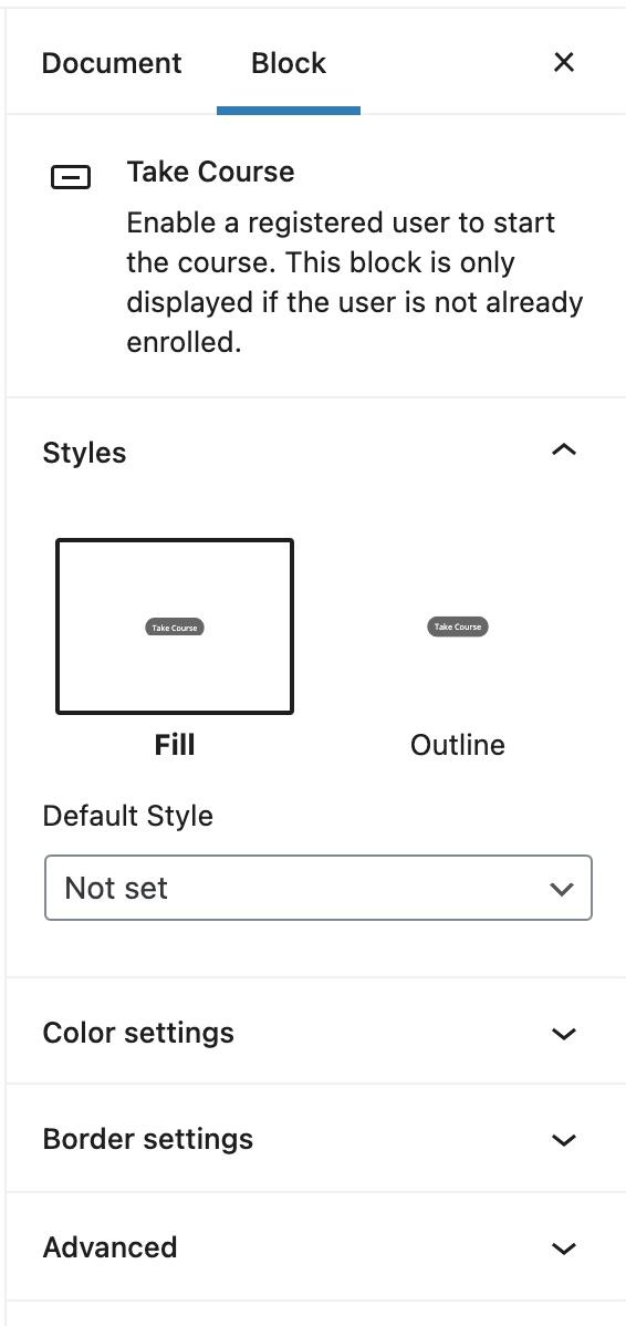 Take Course block settings