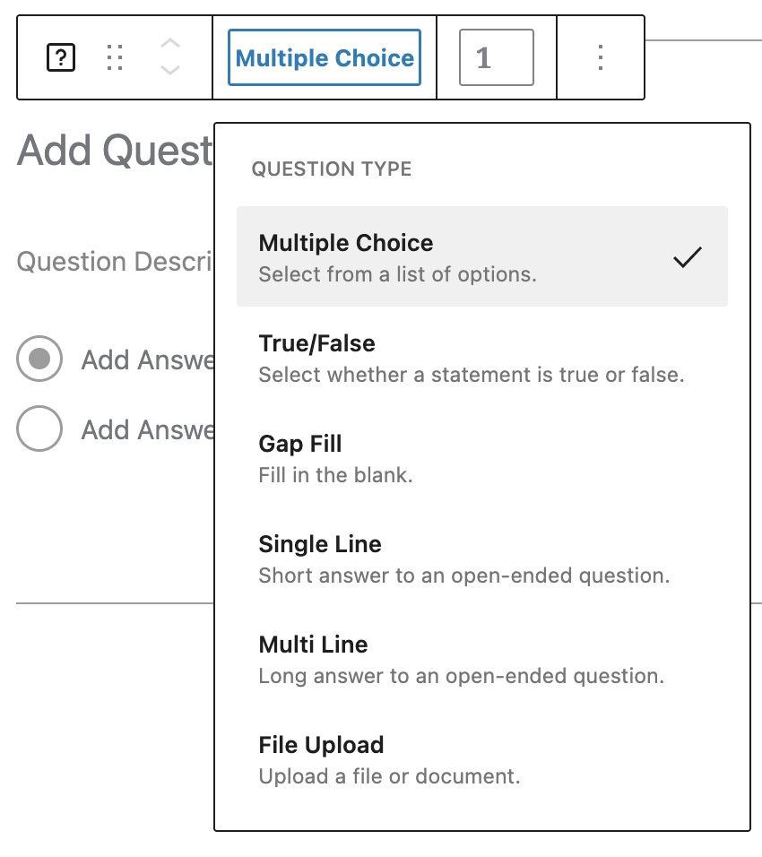 Quiz block - Question type selector