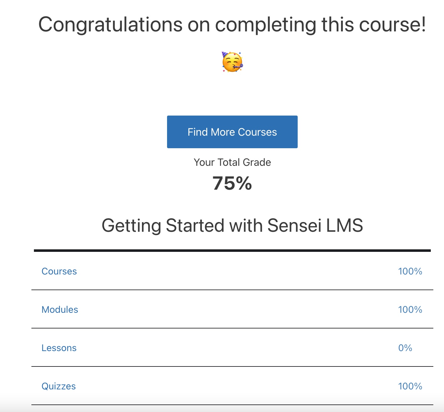 Screenshot of the Course Completed page