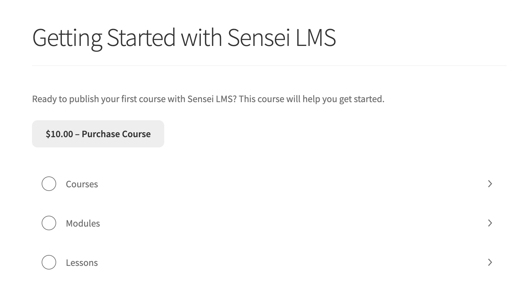 Screenshot of the single course page showing the Purchase Course button